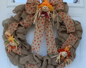 Fall wreath, fall burlap wreath, fall door wreath, scarecrow wreath, outdoor door wreath, front door wreath, front door decoration, rustic