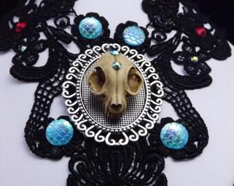 gothic cat skull choker, Steampunk choker, gothic choker, cat skull, cat choker, day of the dead