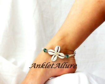 Cowrie Flower Anklet Shell Beach Body Jewerly Beach Ankle Bracelet Amber Sand Flower Anklet Cruise Vacation Beach Resort