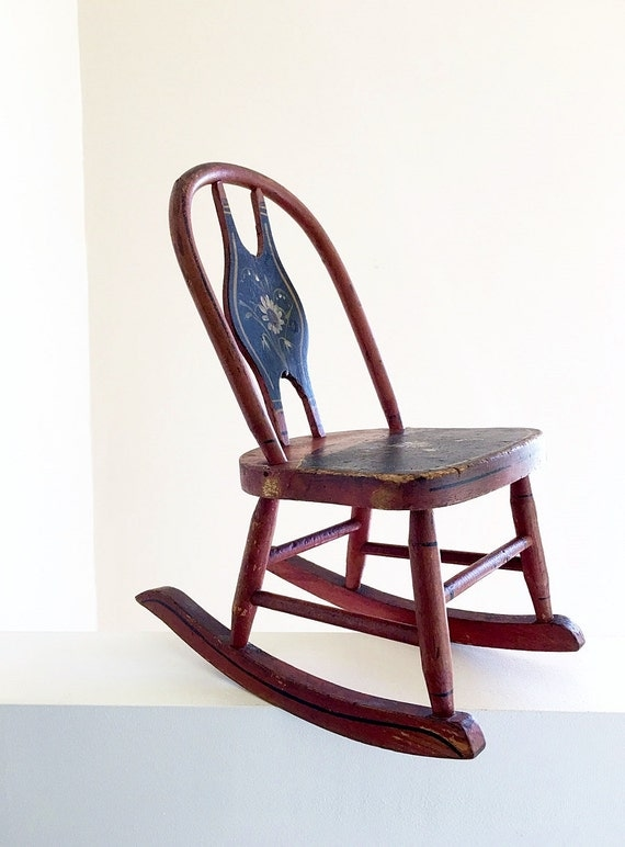 Original Paint Miniature Primitive Rocking Chair Childrens Furniture ...