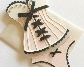 Bridal Shower Invitations - Corset invitation, lingerie shower - pink, black, and ecru - set of 12