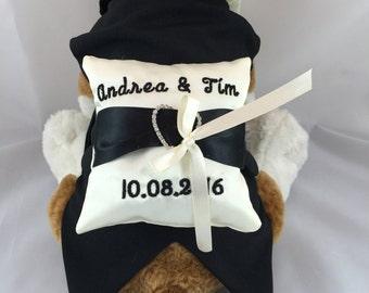 Ivory and black Ringbearer dog, custom black dog tux, best man dog, grooms dog, fancy dog tuxedo, formal dog tux, dog suit, suit and bow tie