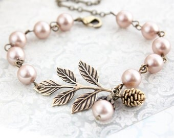 Branch Bracelet Pine cone Acorn Charm Bracelet Bridesmaids Gift Nude Almond Blush Pearl Bracelet Adjustable Size Autumn Woodland Wedding