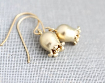Lily of the Valley Earrings, Matte Gold Bell Flower, Little Tulip Earrings, Nature Jewellery, Small Drop Earring, Nickel Free Floral Jewelry