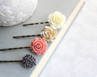 Coral Rose Bobby Pins Hair Accessories Charcoal Grey Chrysanthemum Hair Clip Ivory Cream Floral Bobbies Flowers for Hair Gold Rose Hair pins