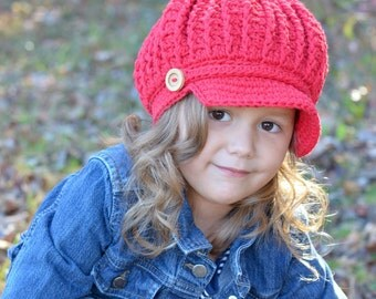 Red Girl's Crochet Newsboy Hat, Newsboy Slouchy Beanie with Cable Stitch, Girl's Crochet Hat, Toddler Hat for Girls, Crochet Hat for Girls