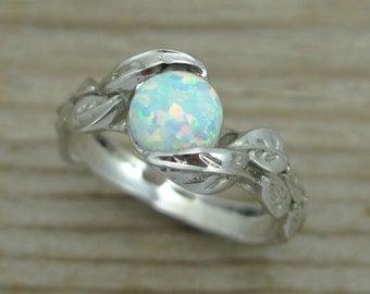 Leaf Engagement Ring, Opal Engagement Ring, White Gold Leaf Ring, Opal Leaf Ring, Leaves Ring, Alternative Engagement Ring, Opal Leaves Ring