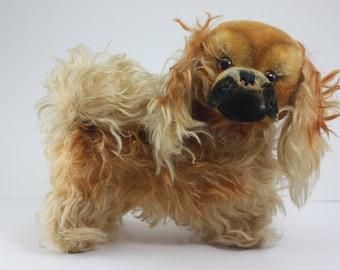 "Vintage Steiff Pekingese ""Peky"" Mohair Swivel Head Straw Filled 8 1/2"" Stuffed Animal Stuffed Toy Collectible Dog"