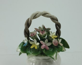 Vintage Stilart Capodimonte Porcelain Flower Basket Bouquet Hand Made Hand Painted Floral Arrangement Made In Italy Mothers Day Gift