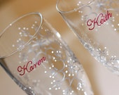 Snowflake Hand Painted Wedding Toasting Flutes Winter Champagne Glasses Bride Groom Mr. Mrs. Personalized Maroon Burgundy Red Silver White