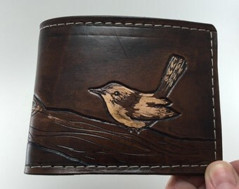 Wren on a Branch - Bird - Hand Tooled Leather wallet