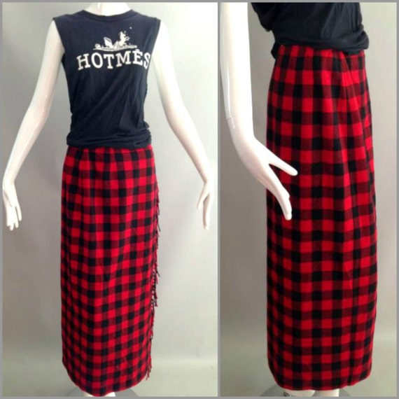 ViNtAgE 80's 90's PLAID Maxi Skirt Long Plaid Skirt Red Wool Boho Buffalo Plaid Checker Skirt Indie Skirt Grunge Blanket Fringe Skirt  8 S M