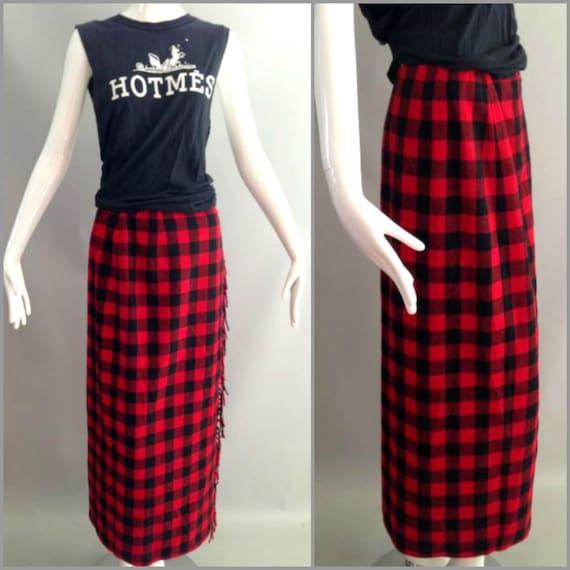ViNtAgE 80's 90's PLAID Maxi Skirt Long Plaid Skirt Red Wool Boho Buffalo Plaid Checker Skirt Indie Skirt Grunge Blanket Fringe Skirt  8 S M