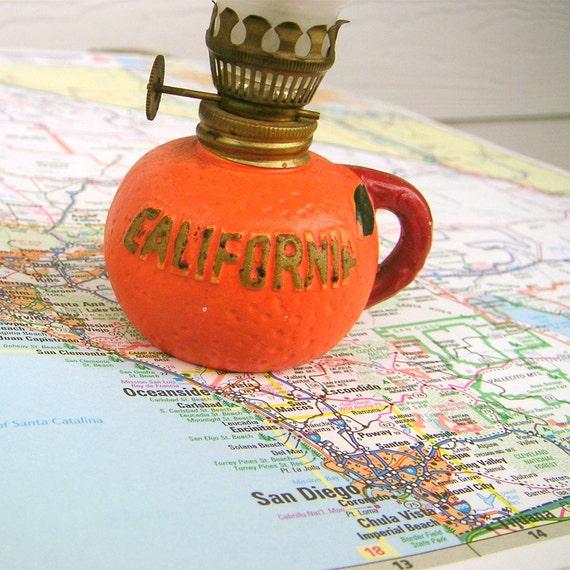 California Miniature Vintage Oil Lamp Souvenir