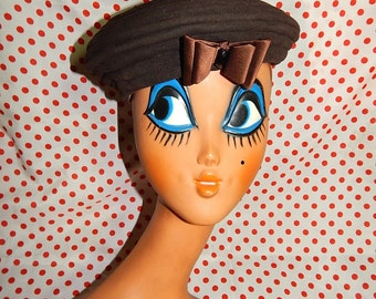 Adorable chic vintage 40's 50's chocolate brown striped hat beret couture bombshell swing pin up large bow black beads by Valerie Modes
