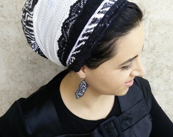 unique tichel, Shabbat tichel, special occasions, cover your hair and look great with oshratDesignz