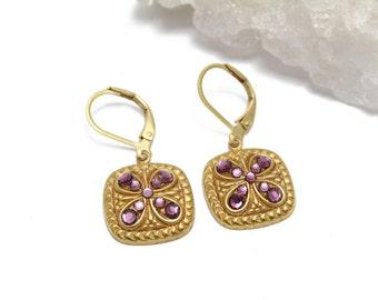 Matte Gold Braided Square Swarovski Crystal Earrings with Amethyst Swarovski Crystals