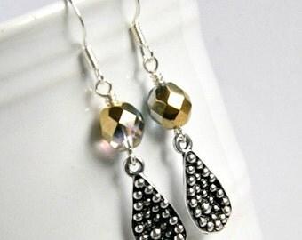 silver earrings, drop, dangle, beaded earrings, czech glass, gifts for her, under 20