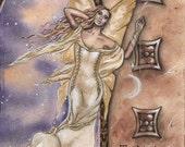 "Sale: Fairy Art Print / Celestial Artwork / Fantasy Art / Moon And Stars / Fae / ""Celestial Beings"" Jacqueline Collen-Tarrolly"