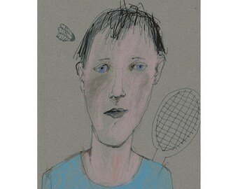 Boy man original art drawing portrait people figurative badminton small