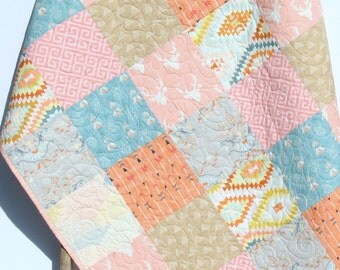 Rustic Baby Quilt Girl Crib Bedding Deer Blanket Brown Tan Coral Pink Blue Nursery Decor Woodland Toddler Bed Quilt Aztec Serape Arrows