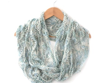 Light Blue / Cream Flowery silk cotton wool infinity scarf , long delicate lace cowl , summer / autumn colours , 6' long , feature flowers
