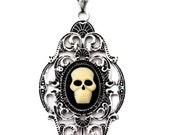 Skull  Cameo Diamond Art Deco Necklace -  - Halloween Wedding