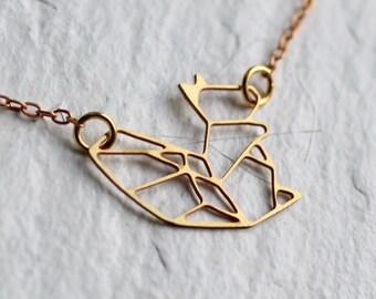 Squirrel Necklace ... Geometric Pendant