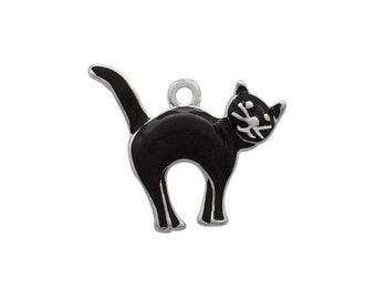 Silver Plated, Enameled,   Black Cat Charm, Qty.1