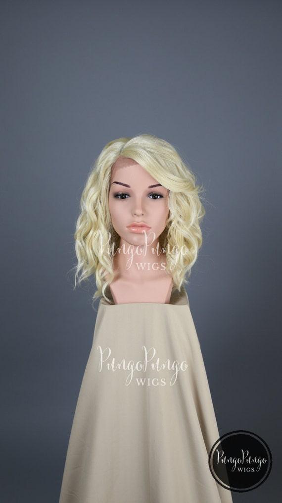Platinum Blonde Lace Front Wig /Wavy Long Bob by PungoPungo