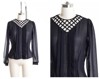 80s Peplum Classy Button Down Back   Blouse size Small
