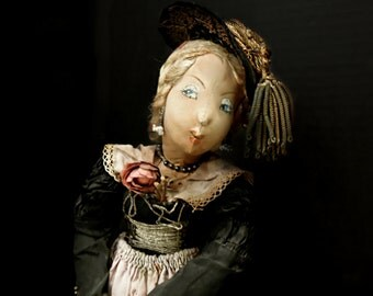 Vintage / Antique Hand Crafted Victorian Doll / Fabric Face Body Doll / Hand Painted Face Doll / Christmas Decoration / Victorian Clothing