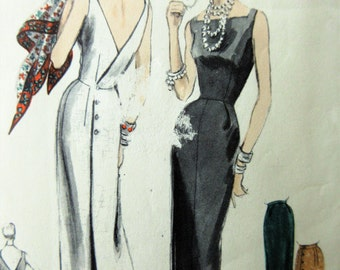 Vintage Vogue 8522 Sewing Pattern, 1950s Wiggle Dress, Bust 28, 1950s Sewing Pattern, Slim Skirt, Sleevless Dress, Low Back Cress, Retro