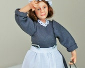 Rose the maid, hand sculpted miniature dollhouse doll in 1/12th, one inch scale, ooak