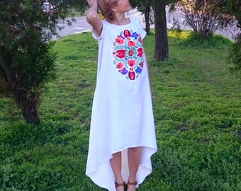 ON SALE Cute Romantic Ethno Peacock Dress with Handmade Vintage Flower Embroidery - Universal size S/M- White