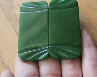 Vintage 20's/30's Art Deco Green Carved Bakelite Rectangular Buckle