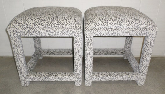 Pair of Upholstered Stools / Ottomans - Design Your Own In ANY Fabric