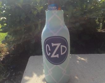BAMBOO personalized monogram bottle beverage insulator - zippered back for longnecks - weddings, bachelorette, parties, beaches