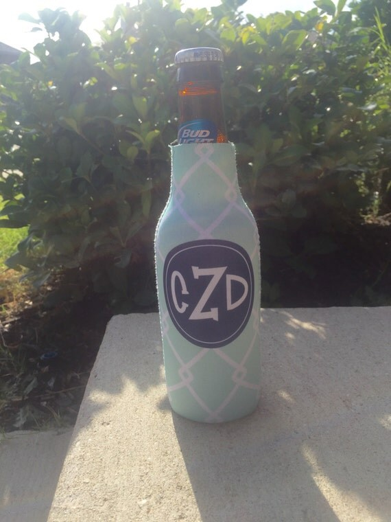 BAMBOO personalized monogram bottle beverage insulator - zippered back for longnecks - weddings, bachelorette, parties, beaches