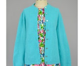 SALE Vintage 1960s Cardigan Aqua Blue Sweater Textured Knit Cardigan Sweater Button Up Granny Sweater 60s Cardigan M/L