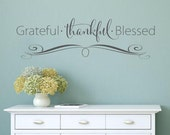 Grateful Thankful Blessed- faith Vinyl Lettering wall decal words decal family custom graphics decals bedroom Home decor itswritten