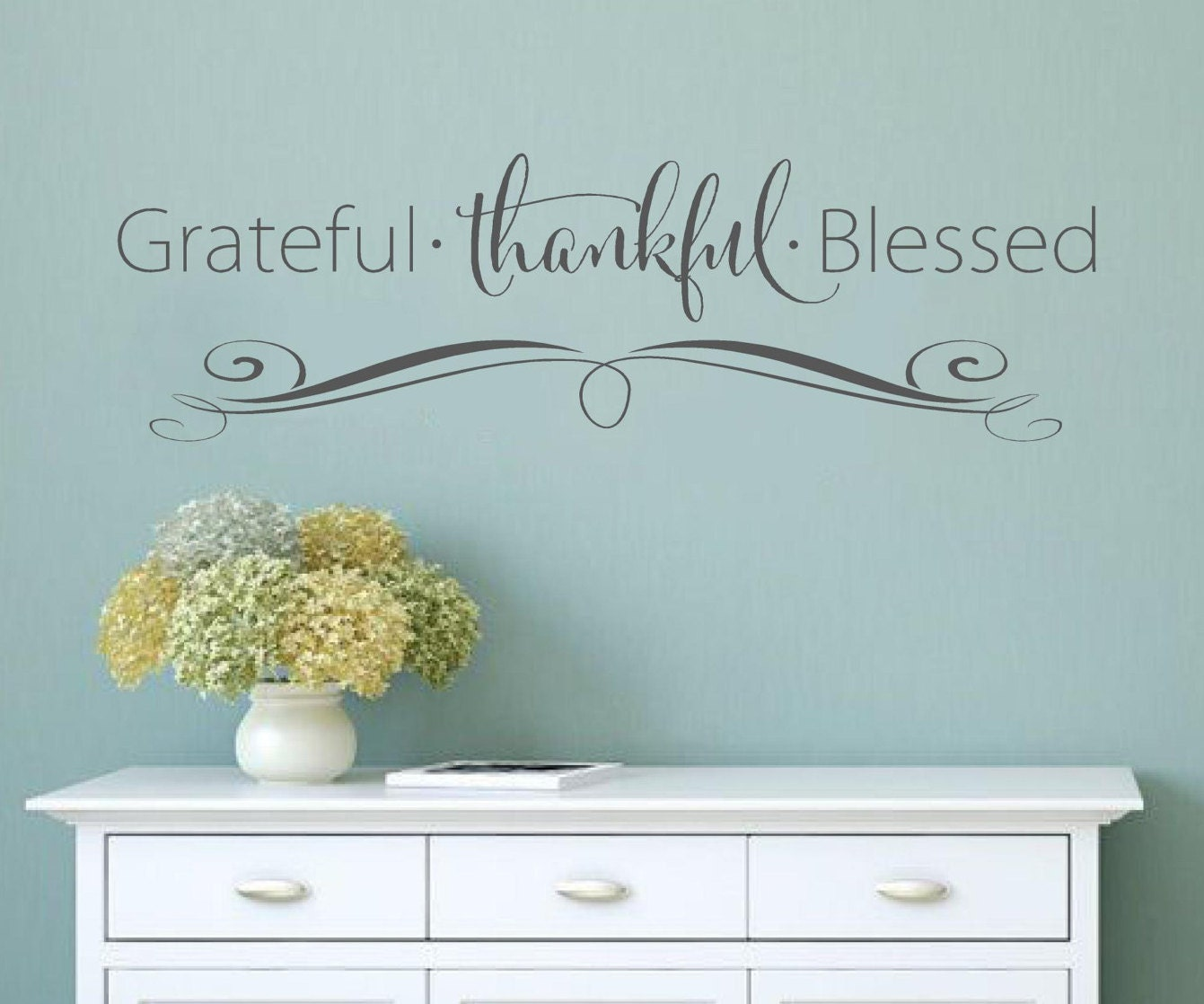 Grateful Thankful Blessed Faith Vinyl Lettering Wall Decal