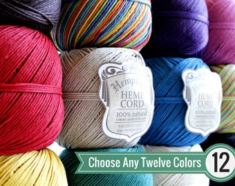 1mm Hemp Twine, Any 12 Colors, Macrame Cord, Choose Your Colors