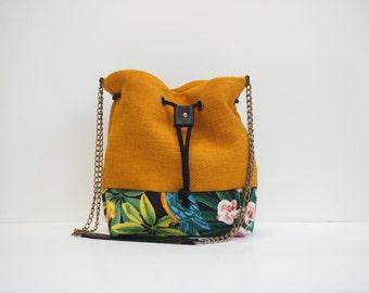 Curry Yellow Bucket Handbag tropical printed panel handmade colorful yellow black green Hawaiian print