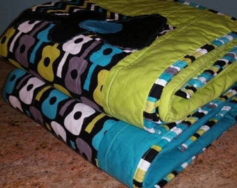 Quilt Set. Boys/Twins/Brothers. Baby/Toddler. Miller's Groovy Guitars in Lagoon w/Minky & Binding. Nursery Bedding Decor. Toddler Bed.