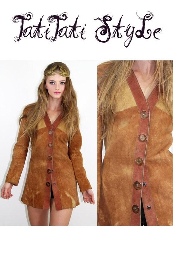 70s Vintage Bohemian Lamb + Suede Leather Jacket  // Vintage Clothes by TatiTati Style on Etsy