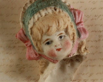 Broken Doll Head of a Beautiful Girl Antique Unglazed Painted Porcelain
