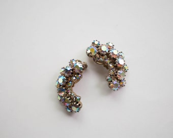 Aurora Borealis Crystal Crescent Earrings Clip On Vintage Bride Vintage Wedding Rhinestone Earrings Wedding Jewelry
