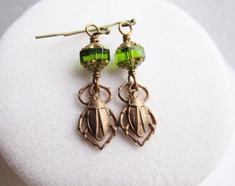 Emerald Green Cathedral Glass & Bronze Scarab Beetle Earrings