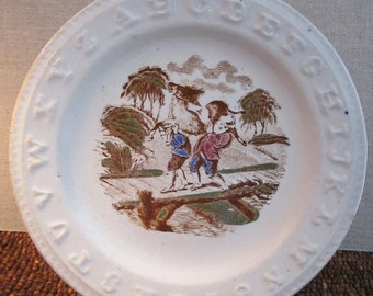 Antique Child's ABC Staffordshire Plate - Charles Allerton & Sons England - Embossed Alphabet Transferware Dish with Miller and Son Fable